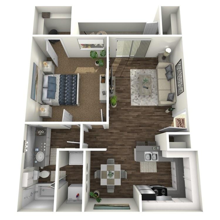 Floor plan image of 1x1 A
