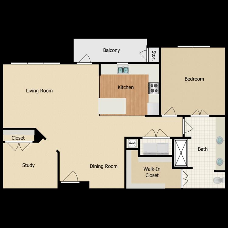 Floor plan image of Elm 1 Bed + Home Work Niche