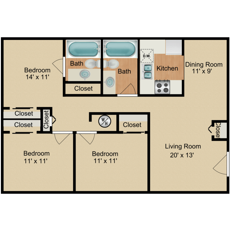 Floor plan image of 3 Bedroom 2 Bath