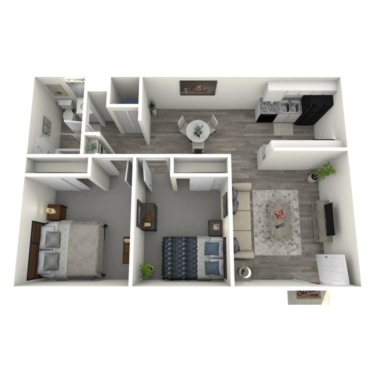Floor plan image of 2 Bedroom 1 Bath Split