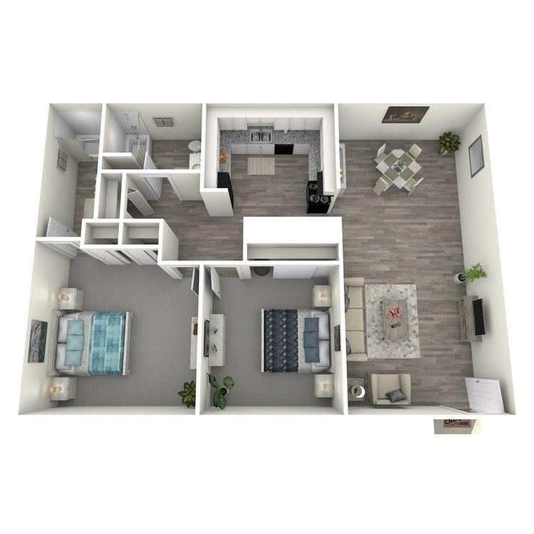 Floor plan image of 2 Bedroom 2 Bath