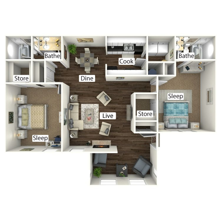 Floor plan image of The Cottage with Sunroom