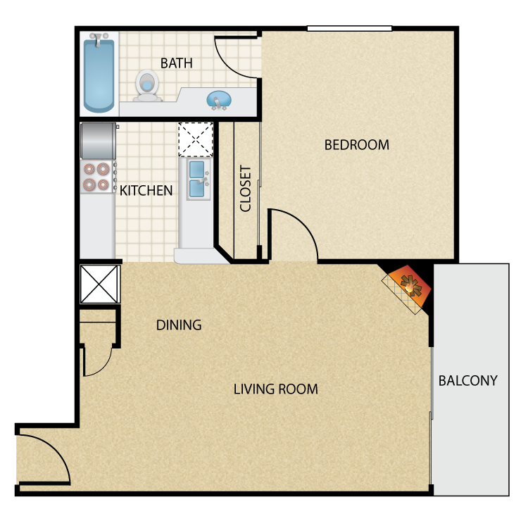 Floor plan image of Plan A 1 Bed 1 Bath