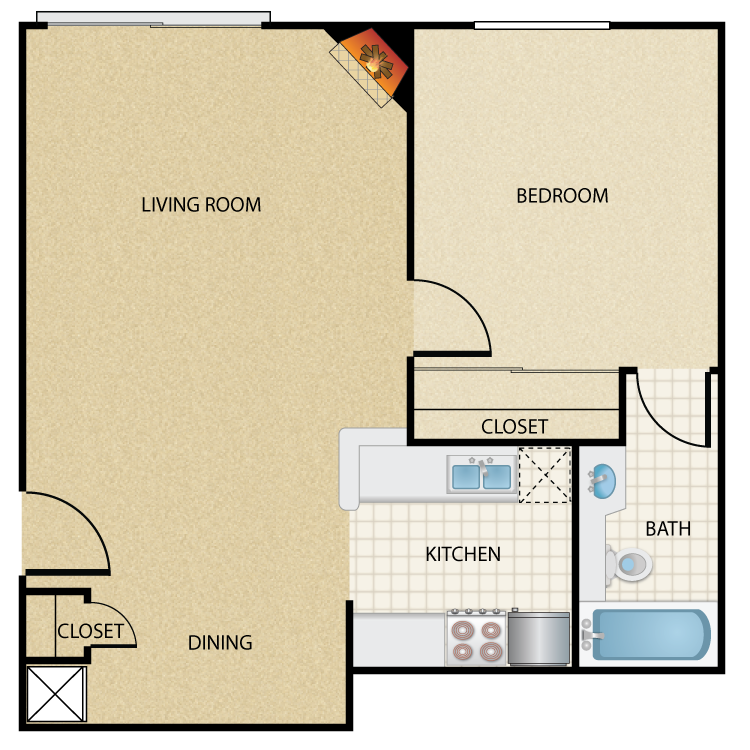 Floor plan image of Plan B 1 Bed 1 Bath