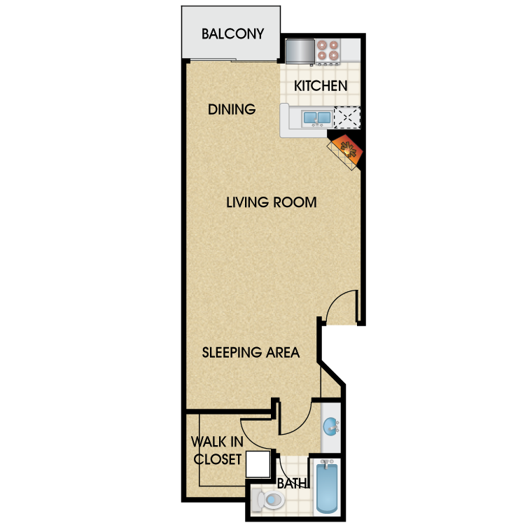 Floor plan image of Plan E Studio 1 Bath