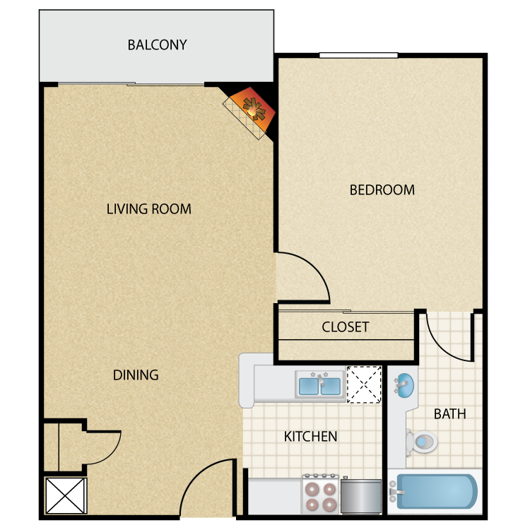 Floor plan image of Plan F 1 Bed 1 Bath