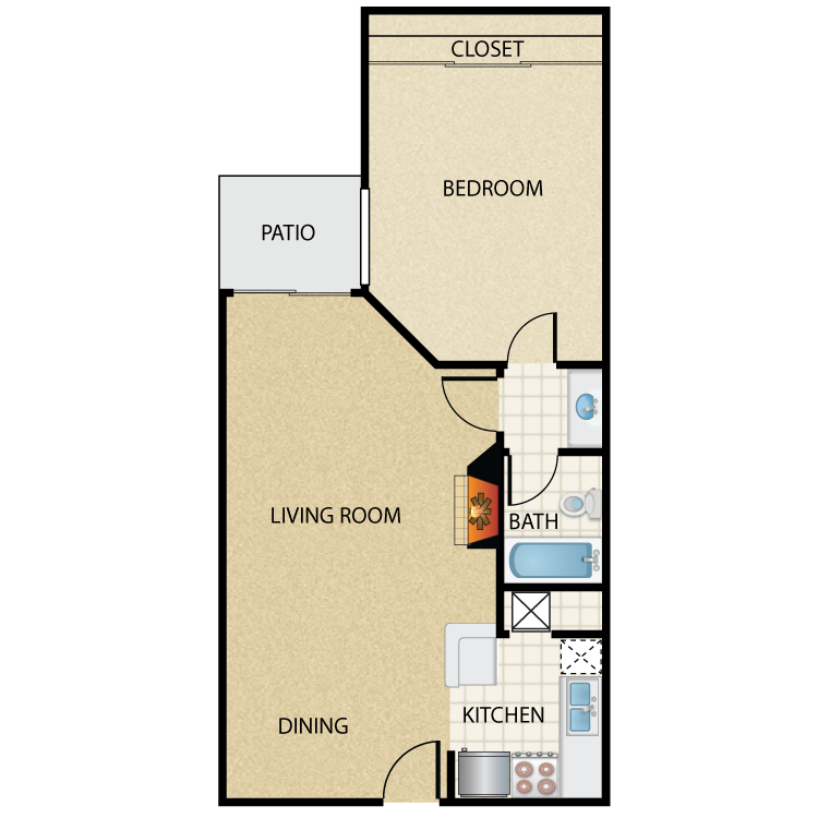 Floor plan image of Plan J 1 Bed 1 Bath