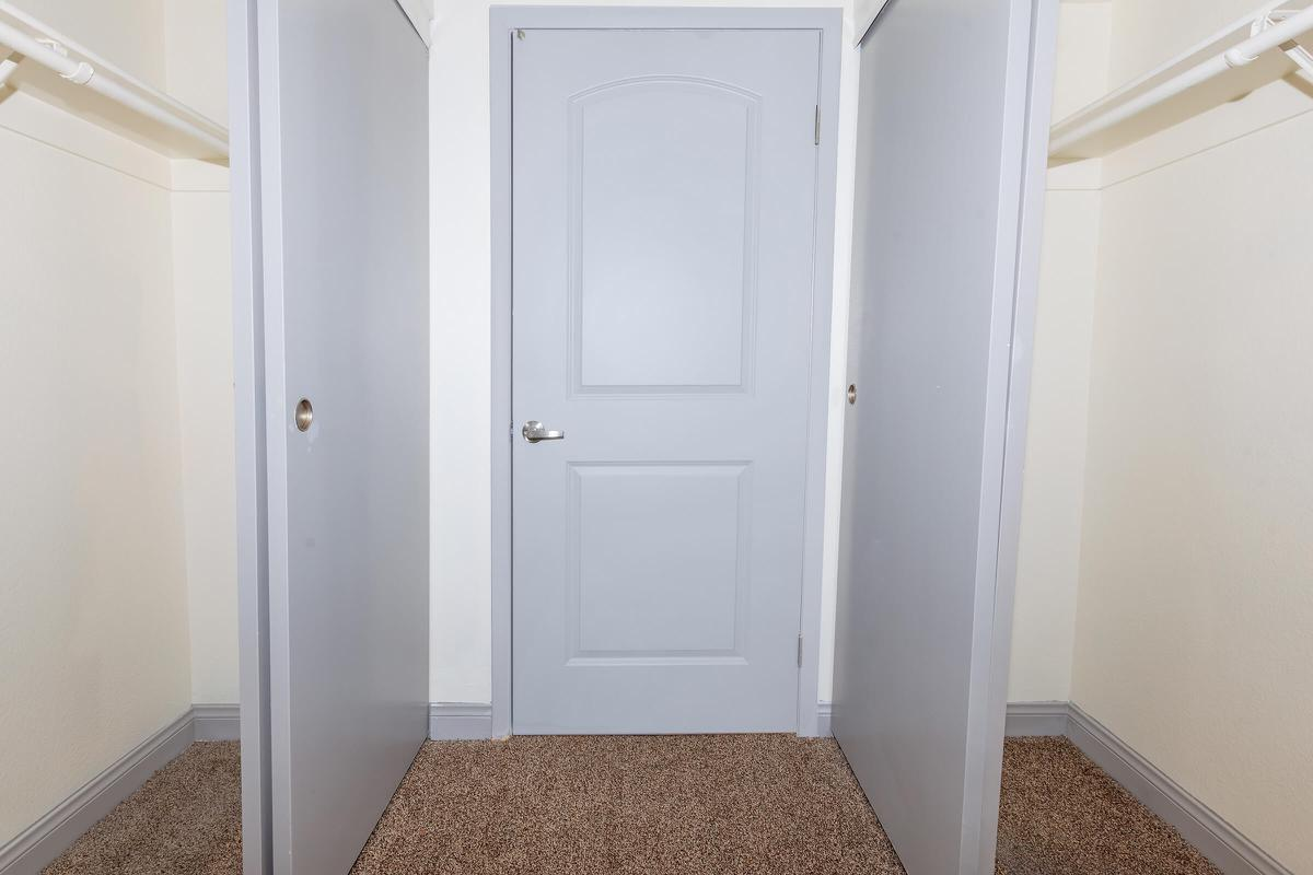 a door in a small room