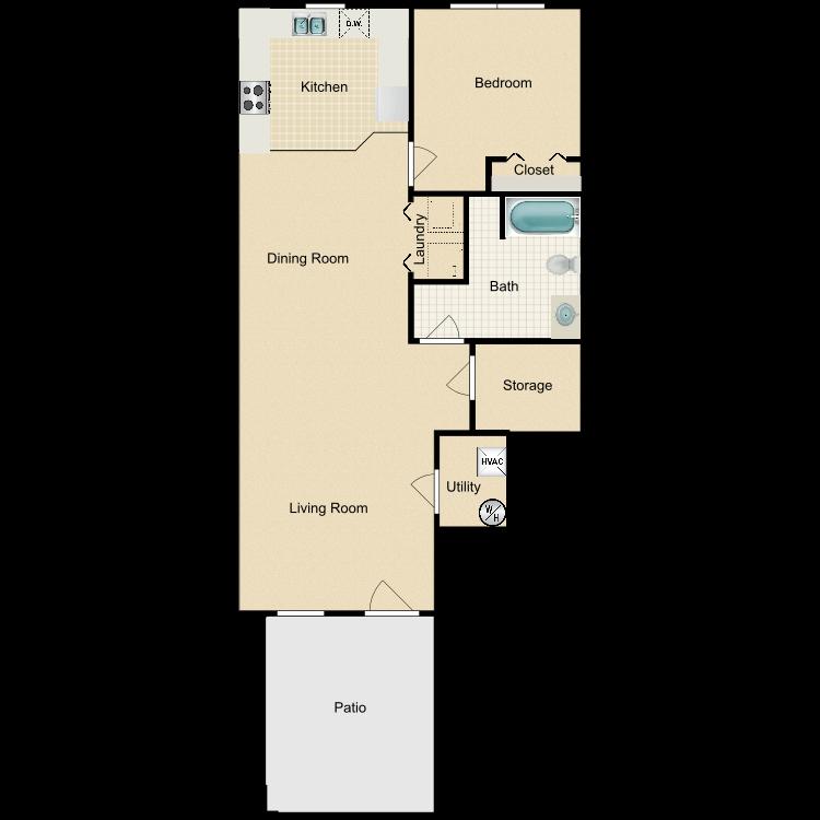 Floor plan image of ONE BEDROOM