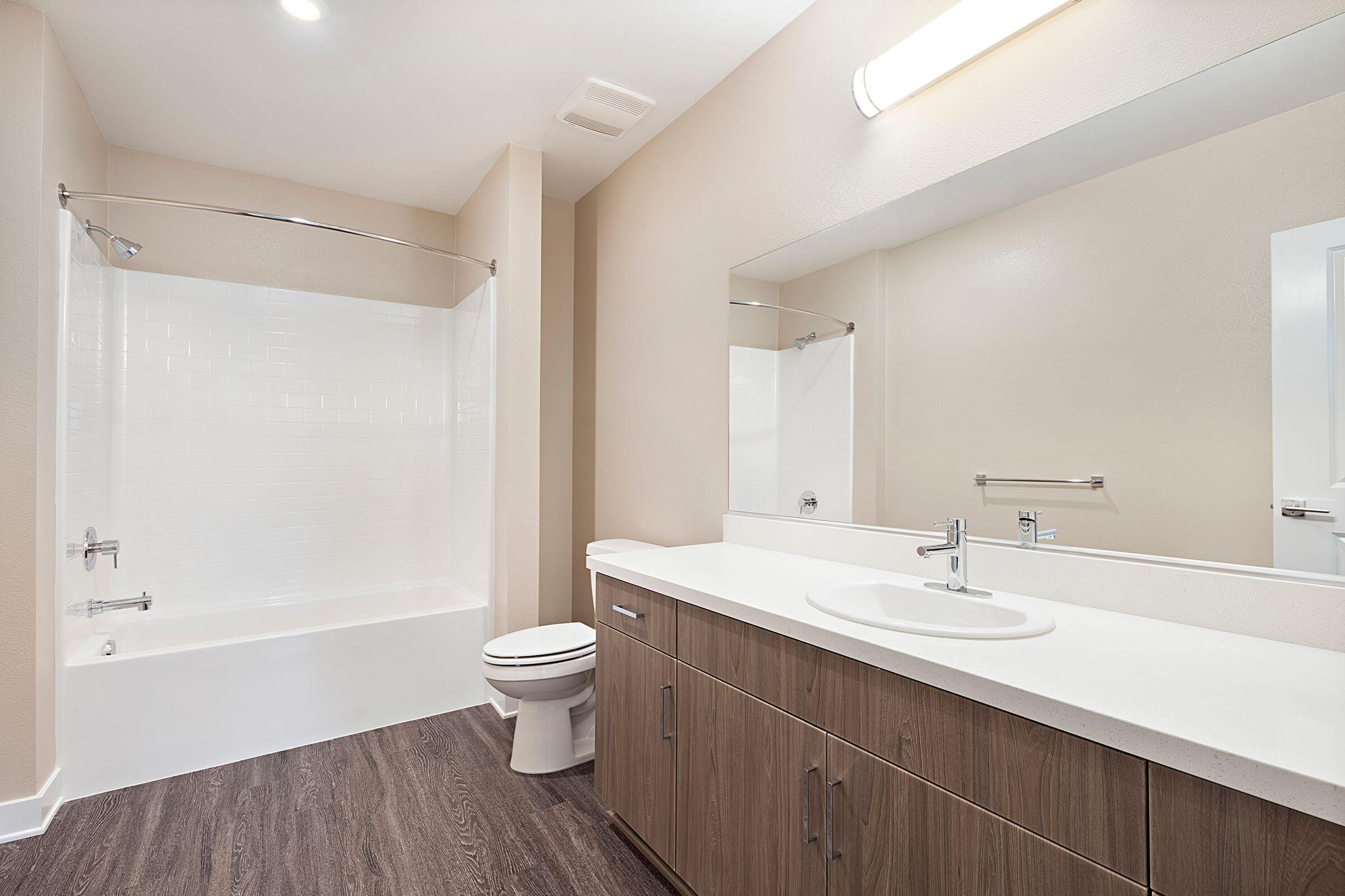 Bathroom with wooden cabinets