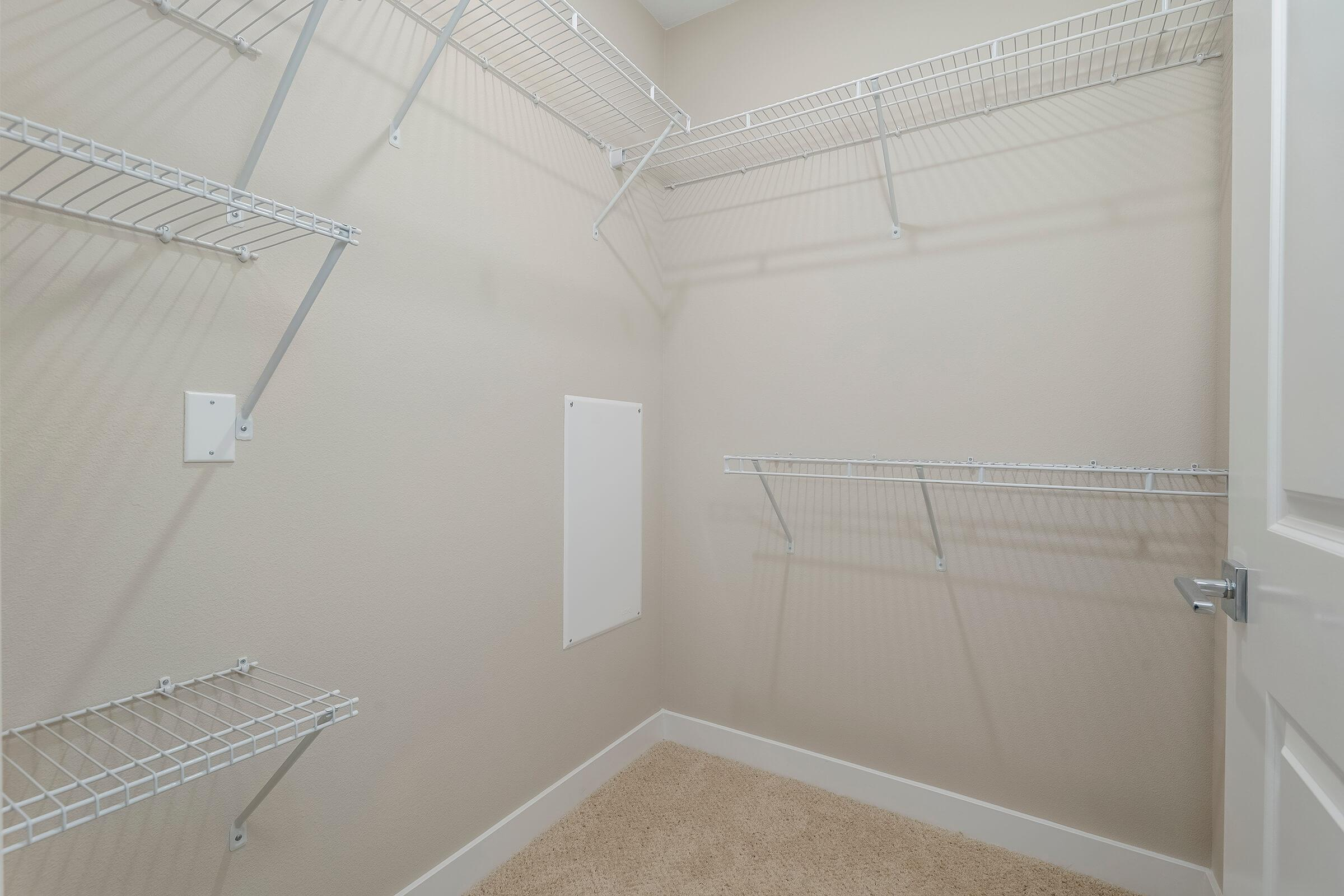 Walk-in closet with shelves