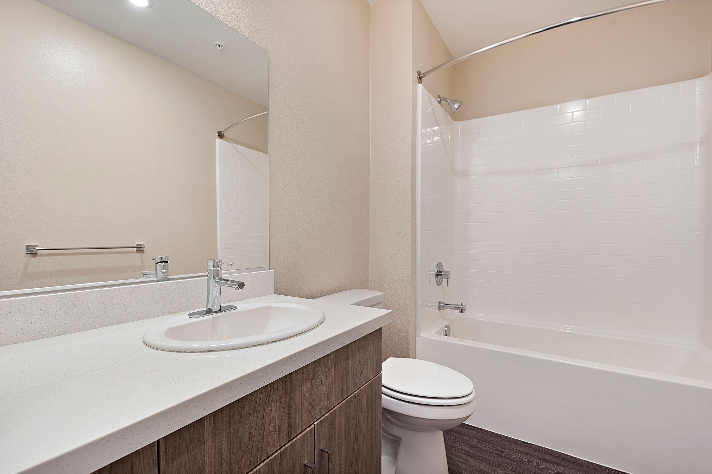 Bathroom with wooden floor