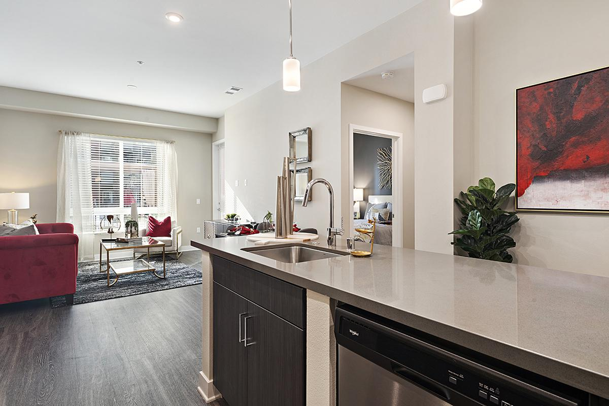 Kitchen sink and living room