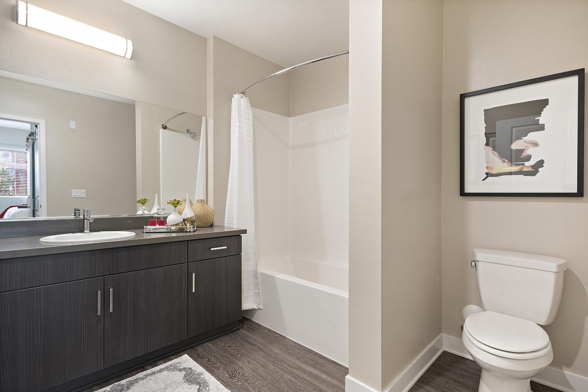 Bathroom with black cabinets