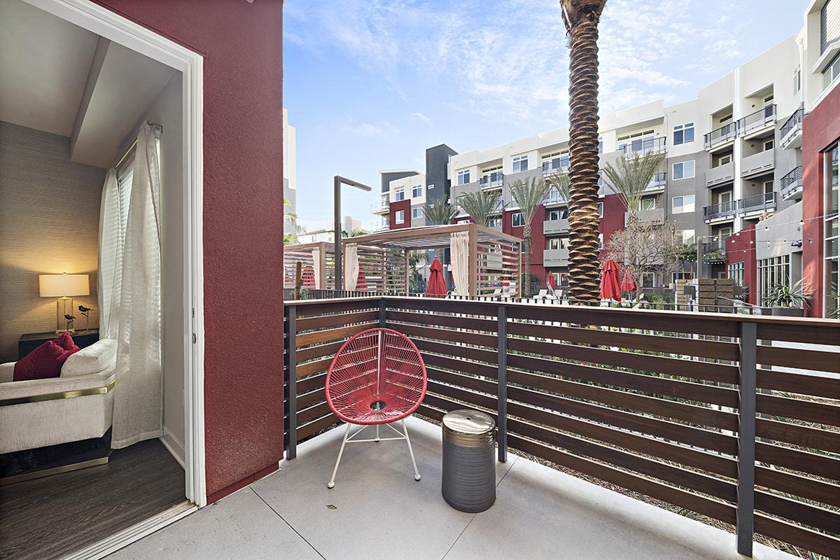 Patio with red chair
