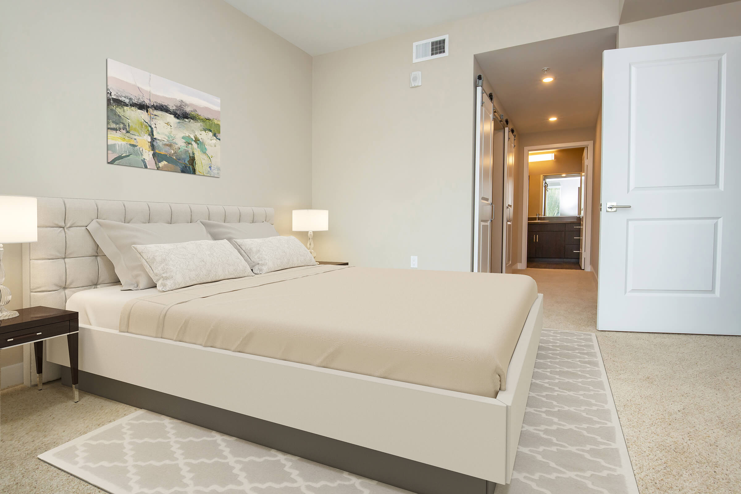Bedroom with tan bedding