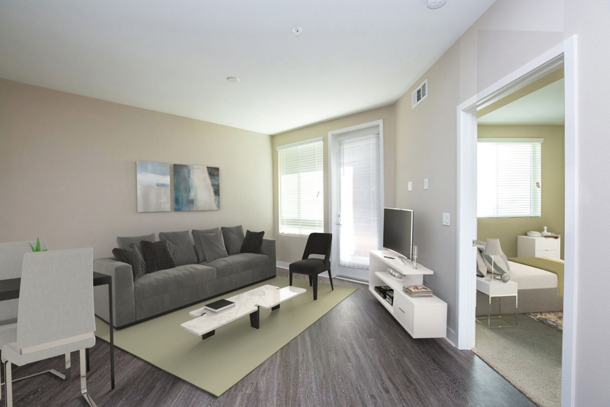 Living room with gray couch