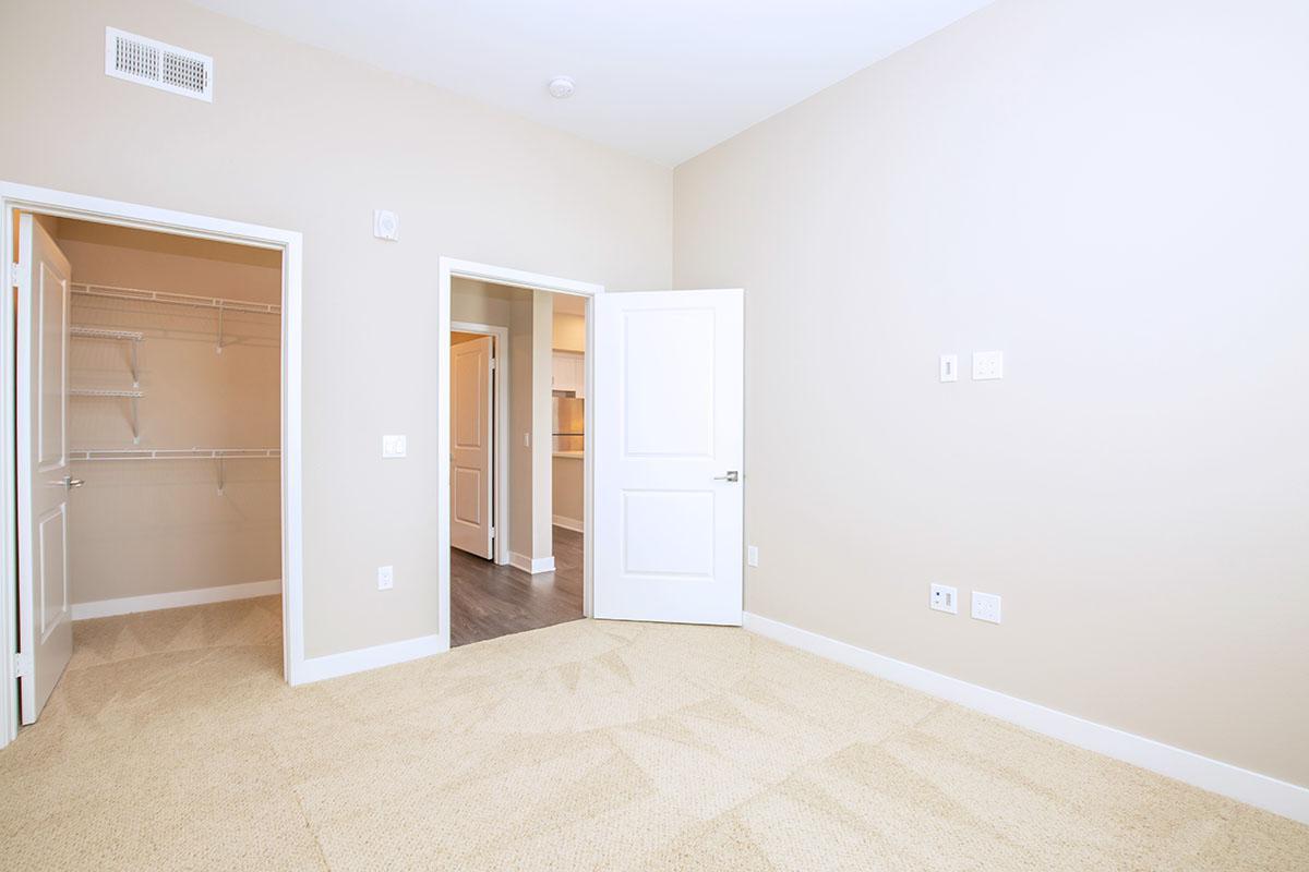 Unfurnished bedroom with open closet door