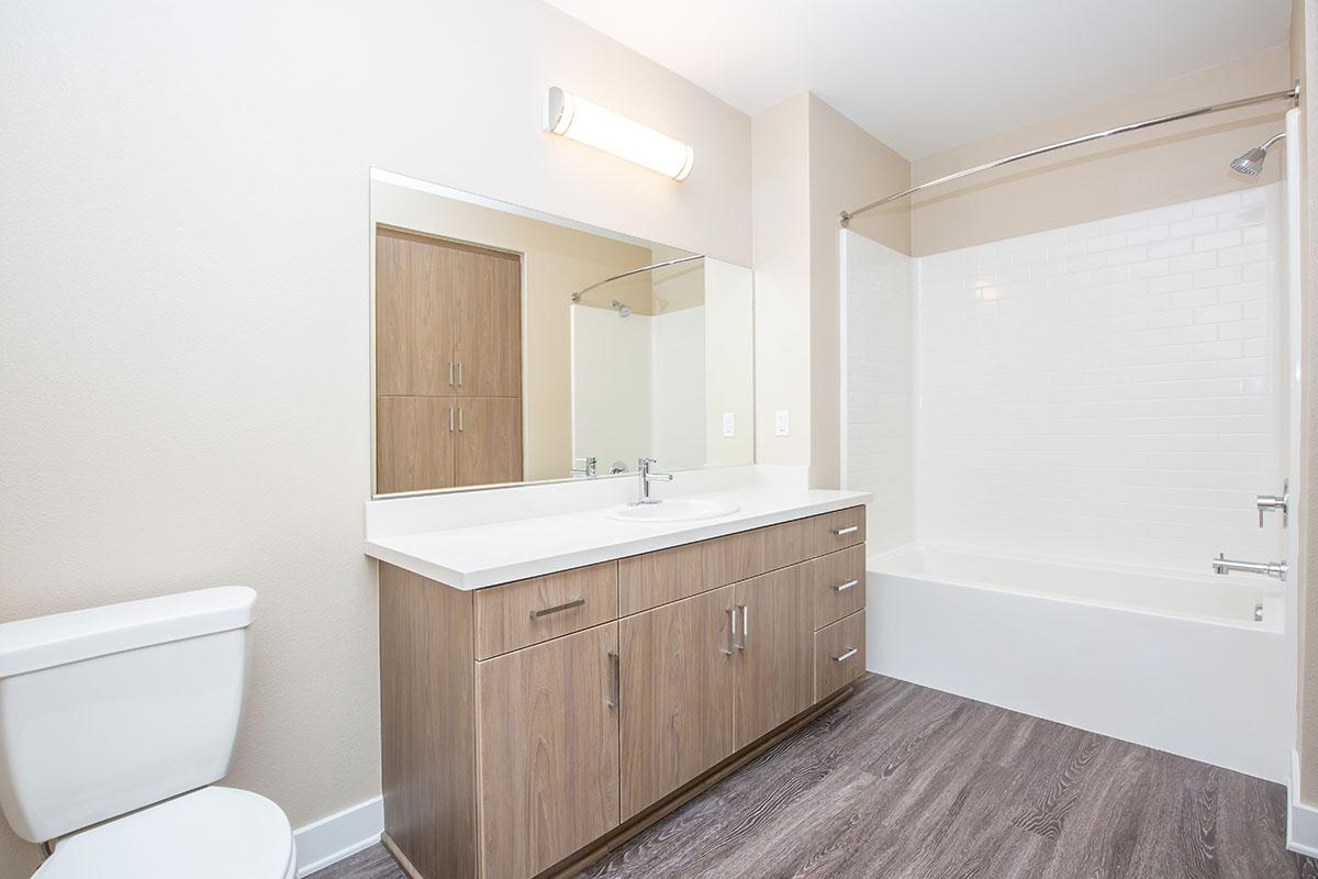 Bathroom with wooden cabinets and wooden floors
