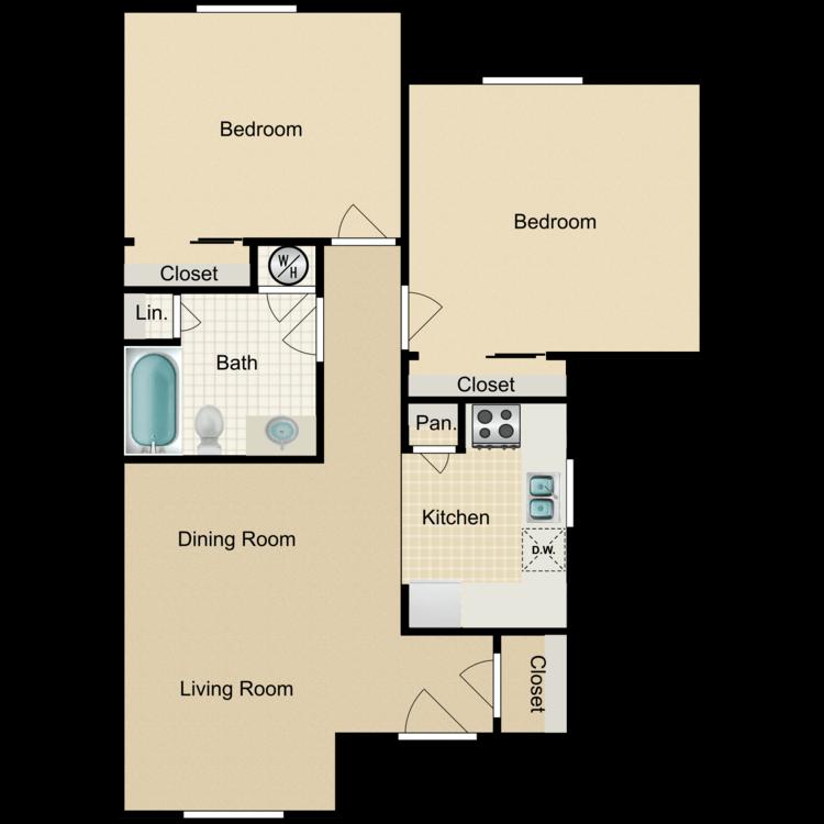 Floor plan image of Two Bedroom One Bath B2