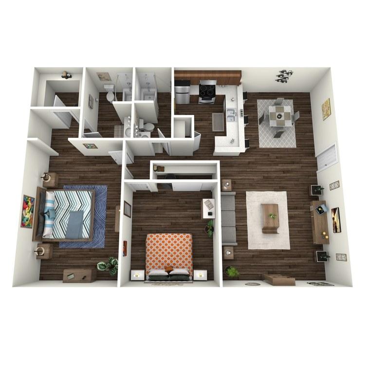 Floor plan image of Villas 2x2 V