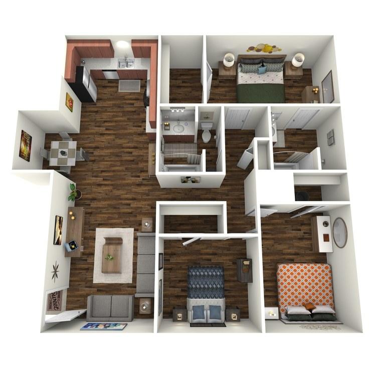 Floor plan image of Villas 3x2 LV