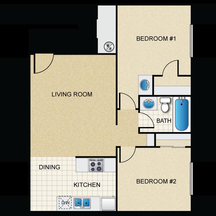Floor plan image of 2 Bed 1.25 Bath