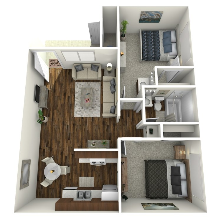 Floor plan image of 2 Bed 1.25 Bath