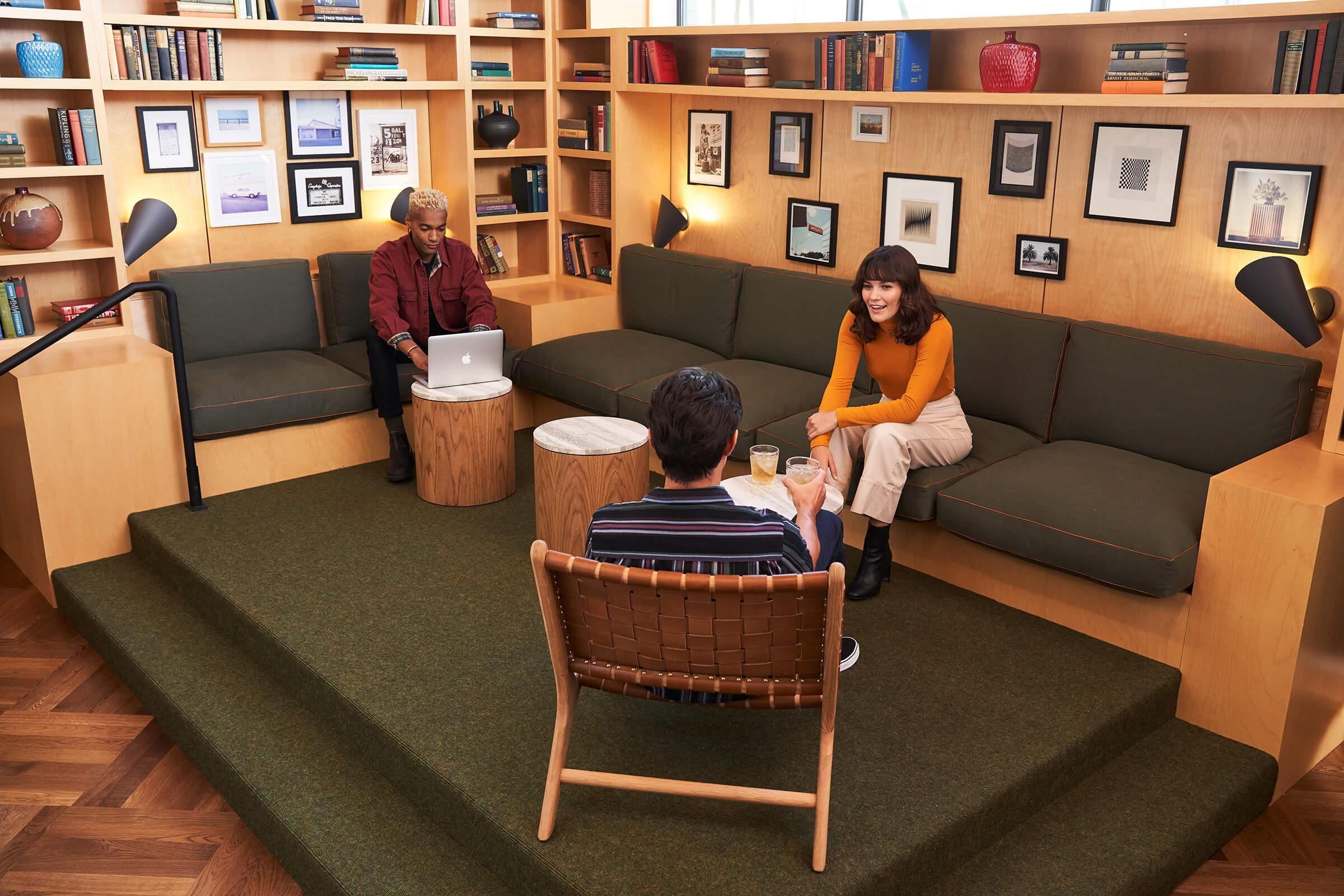 A group of people sitting on a couch