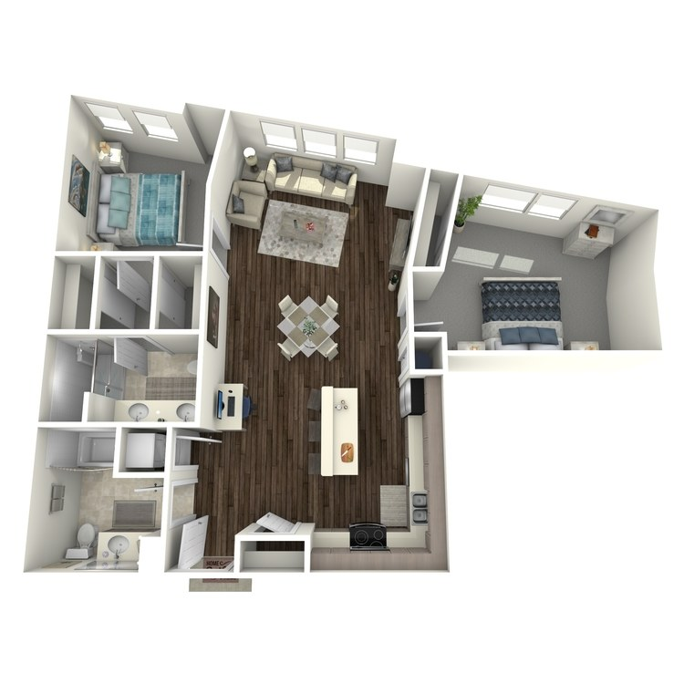 Floor plan image of 2 Bed 1.75 Bath B
