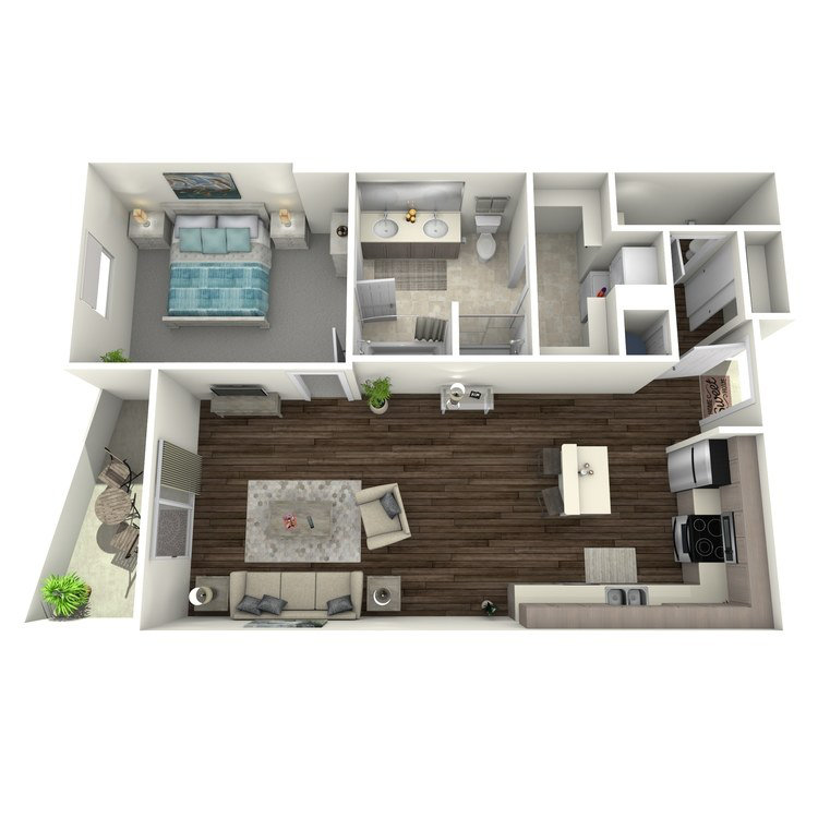 Floor plan image of 1 Bed 1.5 Bath D