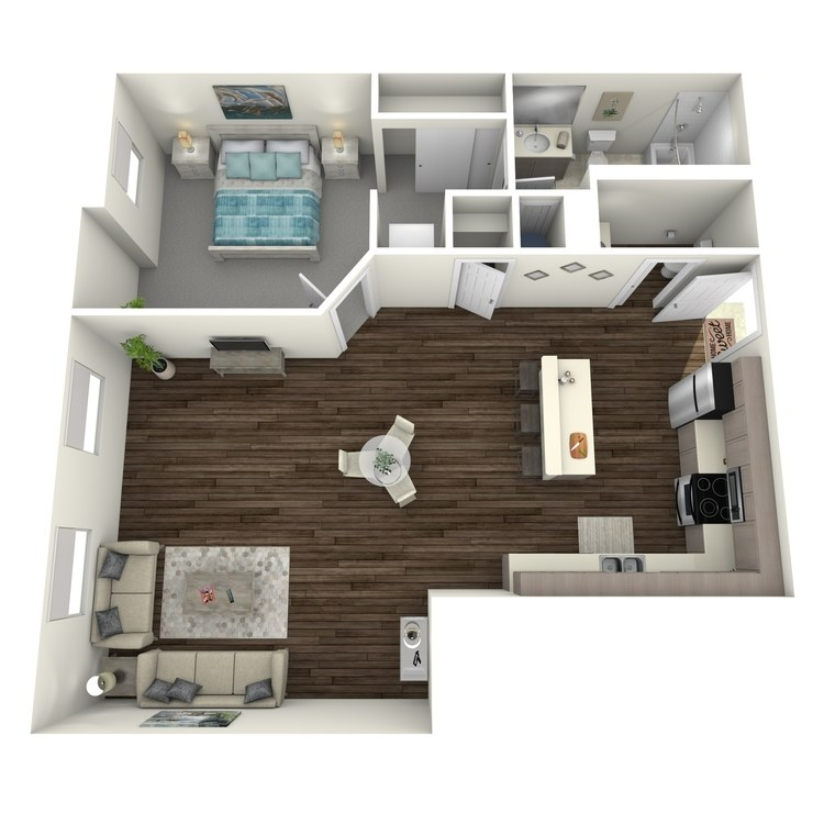 Floor plan image of 1 Bed 1.5 Bath A