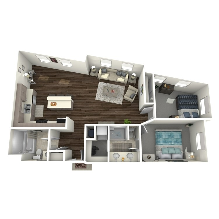 Floor plan image of 2 Bed 1.75 Bath A