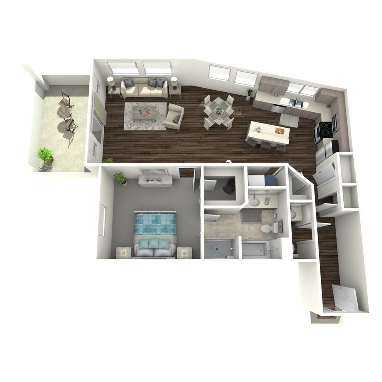 Floor plan image of 1 Bed 1.5 Bath F