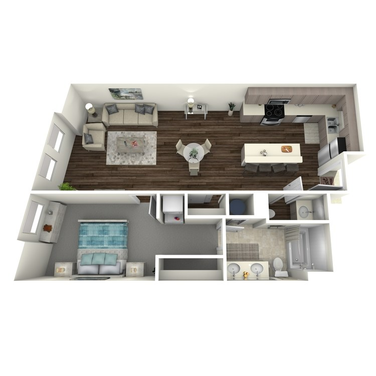 Floor plan image of 1 Bed 1.5 Bath E