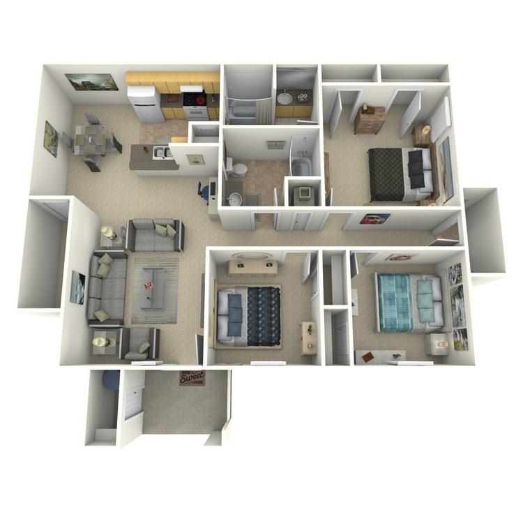 Floor plan image of 3 Bed 2 Bath F