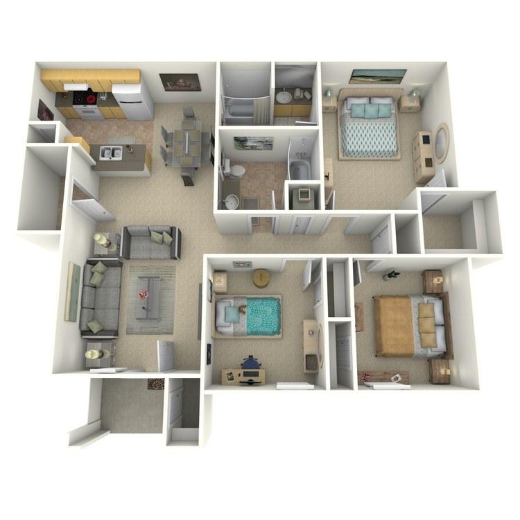 Floor plan image of 3 Bed 2 Bath E