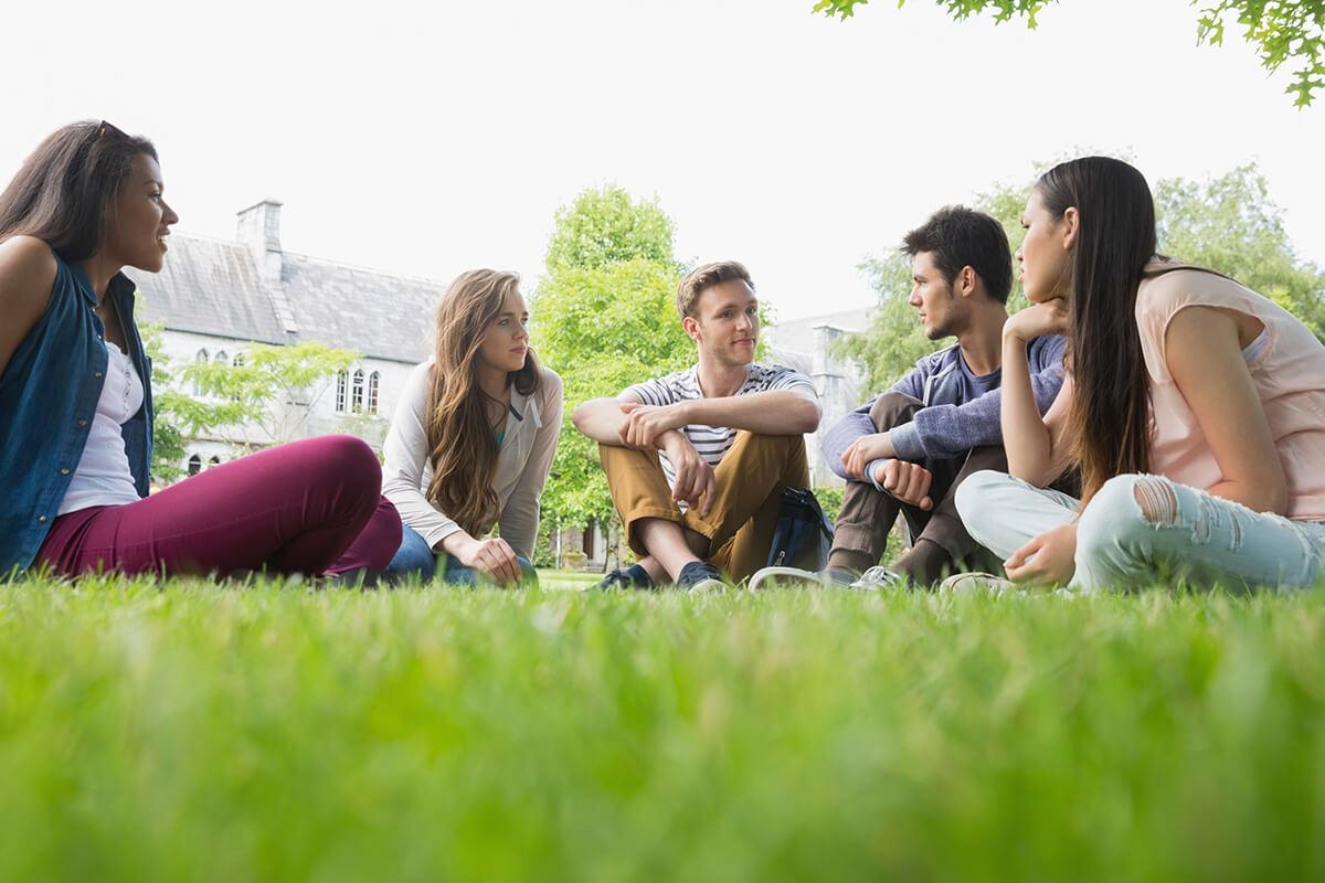 a group of people sitting in the grass