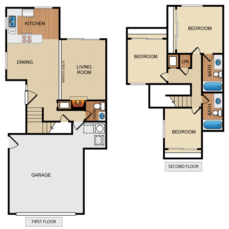 3 Bed 2.5 Bath floor plan image