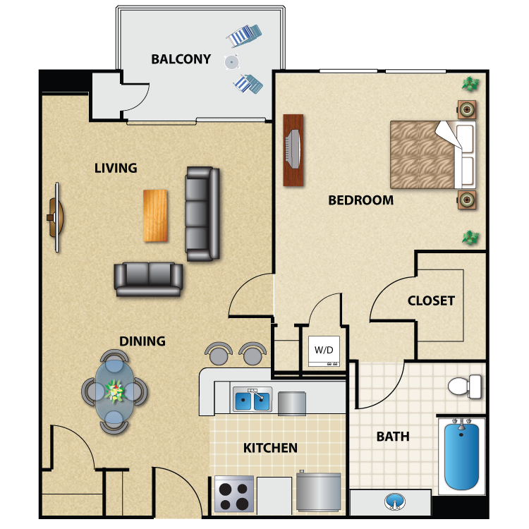 Floor plan image of Plan B2 1 Bed 1 Bath