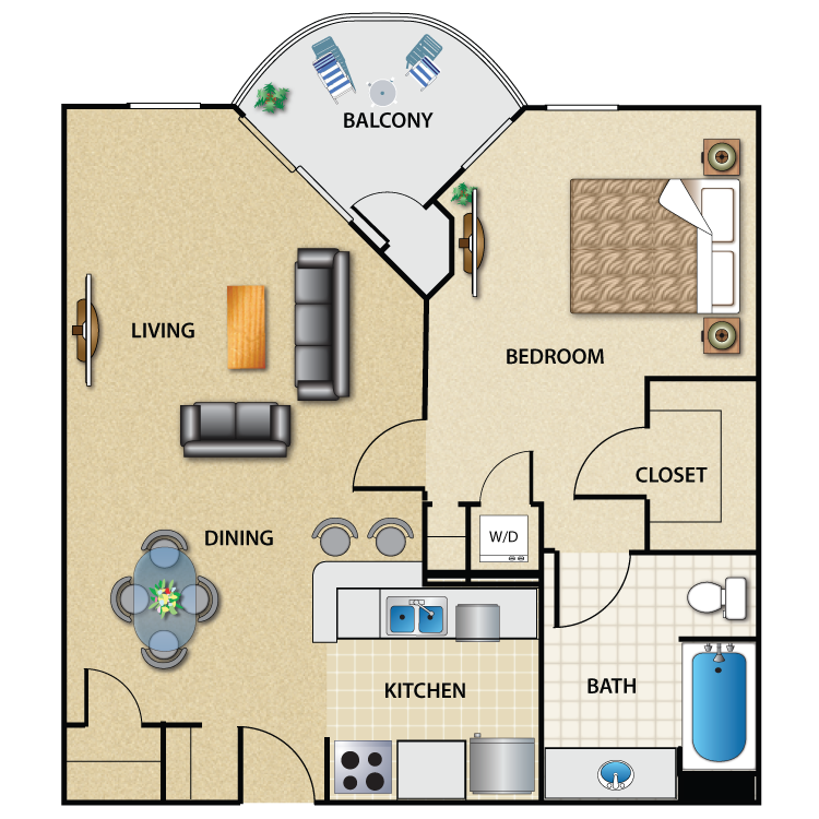 Floor plan image of Plan B3 1 Bed 1 Bath