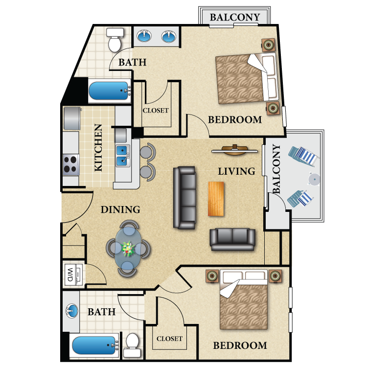 Floor plan image of Plan C 2 Bed 2 Bath