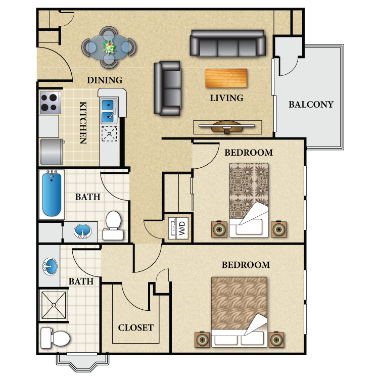Floor plan image of Plan D2 2 Bed 2 Bath