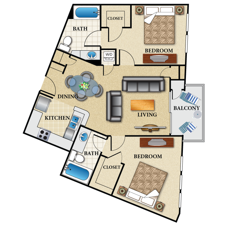 Floor plan image of Plan F 2 Bed 2 Bath