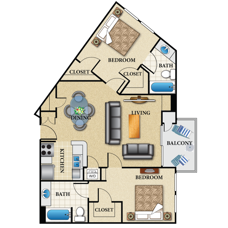 Floor plan image of Plan H 2 Bed 2 Bath