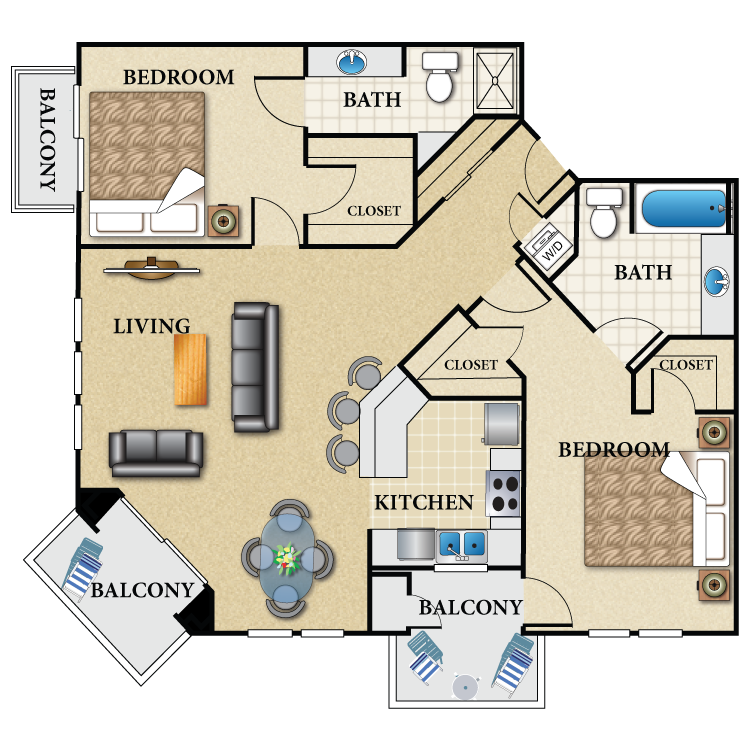 Floor plan image of Plan M 2 Bed 2 Bath