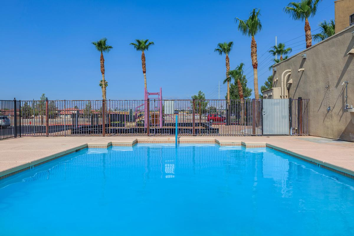 This is the pool at Las Brias De Cheyenne Apartments