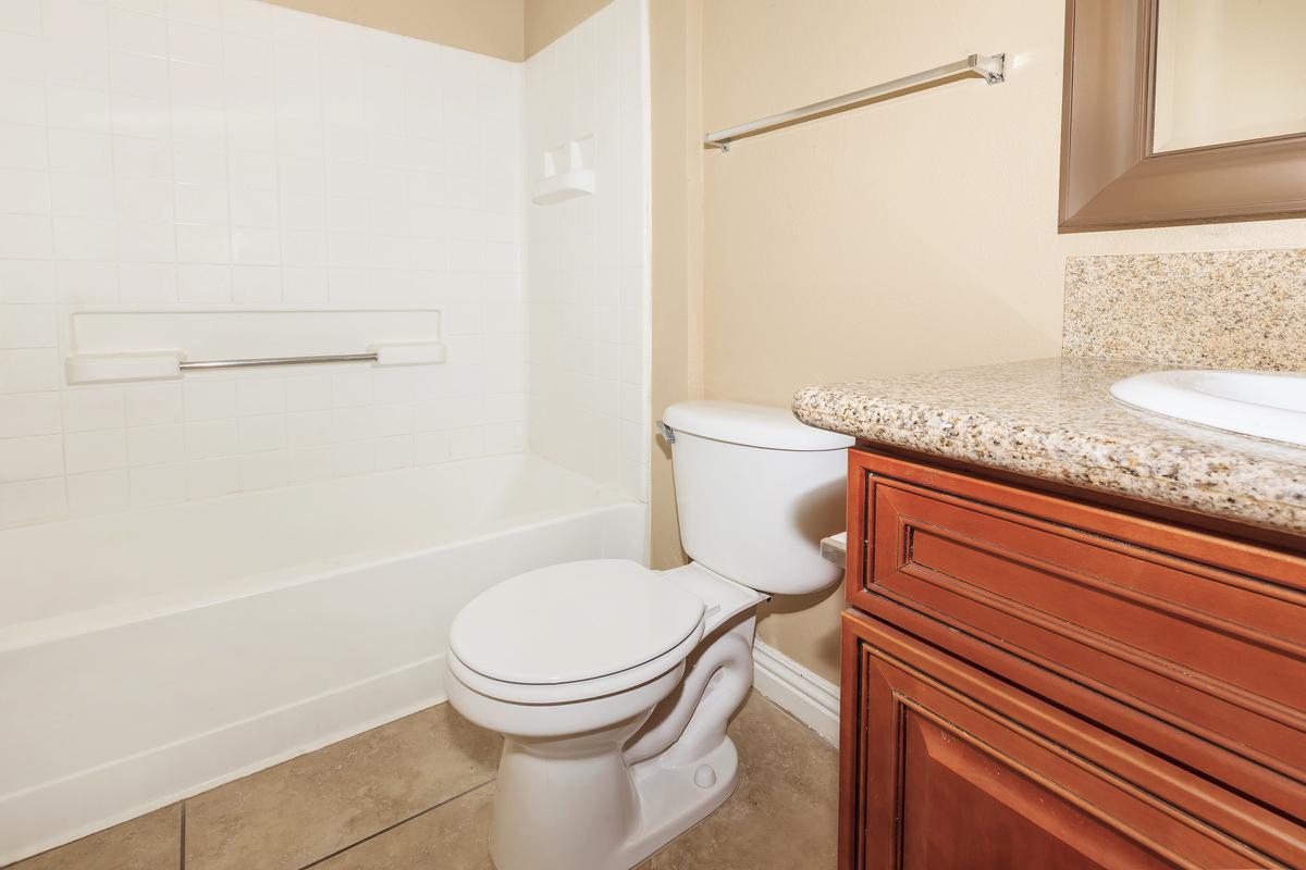 MODERN BATHROOMS AT LAS BRISAS DE CHEYENNE APARTMENTS IN LAS VEGAS, NEVADA