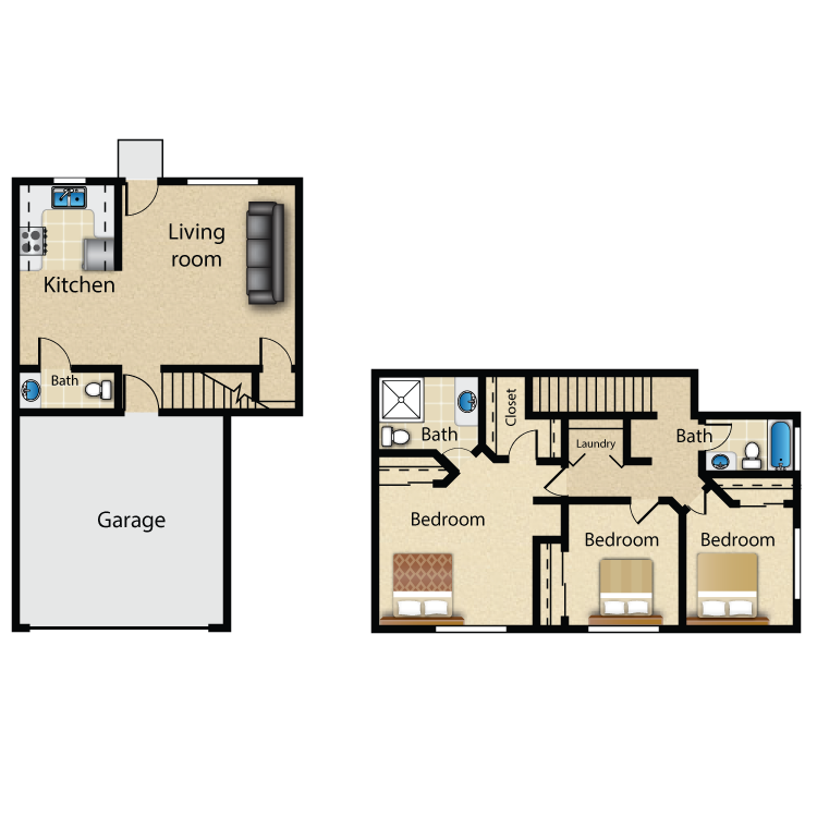 Floor plan image of 3 Bed 2.5 Bath Townhouse
