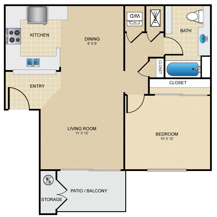 Floor plan image of 1 Bed 1 Bath Furnished